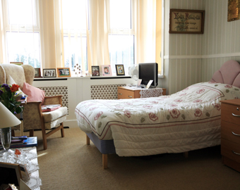 One of the bedrooms at Hollylodge EMI Residential Care Home, south Wales