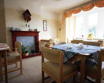 The dining room at Hollylodge EMI Residential Care Home, south Wales